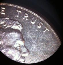 magnified penny